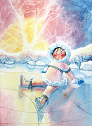 Olympic Illustrations For Children Prints - Figure Skater 10 Print by Hanne Lore Koehler