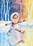 Olympic Illustrations For Children Prints - Figure Skater 11 Print by Hanne Lore Koehler