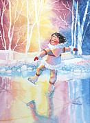 Olympic Illustrations For Children Prints - Figure Skater 13 Print by Hanne Lore Koehler