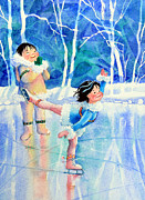 Olympic Illustrations For Children Prints - Figure Skater 15 Print by Hanne Lore Koehler