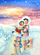 Olympic Illustrations For Children Prints - Figure Skater 7 Print by Hanne Lore Koehler
