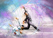 Sports Art Drawings Metal Prints - Figure Skating 02 Metal Print by Miki De Goodaboom
