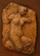 Bas Relief Sculpture Reliefs - Figure Stretching by Sharon Dixon