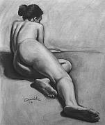 Nudes Drawings Originals - Figure Study 1 by Paul Dinwiddie