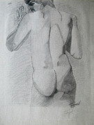 Julie Coughlin Framed Prints - Figure Study on Gray Paper Framed Print by Julie Coughlin