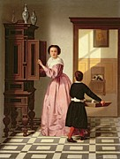 Woman In A Dress Metal Prints - Figures in a Laundryroom Metal Print by Gustaaf Antoon Francois Heyligers