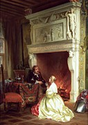 Affection Painting Prints - Figures in an Interior  Print by Ary Johannes Lamme