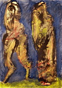 Taos Pastels Prints - Figures In Landscape Print by JC Armbruster