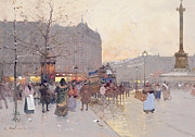 Crowds Painting Framed Prints - Figures in the Place de la Bastille Framed Print by Eugene Galien-Laloue