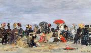 Parasols Framed Prints - Figures on a Beach Framed Print by Eugene Louis Boudin