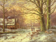 Figures Paintings - Figures on a path before a village in winter by Johannes Hermann Barend Koekkoek