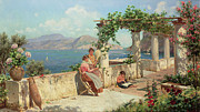 Italian Landscape Painting Prints - Figures on a Terrace in Capri  Print by Robert Alott