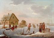 Winter Scenes Rural Scenes Painting Framed Prints - Figures Skating in a Winter Landscape Framed Print by Hendrik Willem Schweickardt