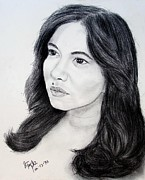 Beauty Mark Drawings - Filipina Beauty and Actress Lorna Tolentino by Jim Fitzpatrick
