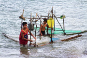 Kids Prints Photo Framed Prints - Filipino Fishing Framed Print by James Bo Insogna