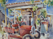 Old Signs Paintings - Fill er Up by Joan  Jones