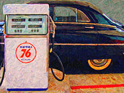 Domestic Car Framed Prints - Fill Her Up At The Old Royal 76 Gas Station Framed Print by Wingsdomain Art and Photography