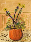 Summer Impression Drawings Prints - Filled Terra Cotta Vase Print by Mary Carol Williams