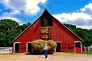 Old Barn Photo Posters - Filling the Haymow Poster by Lyle  Huisken