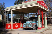 Rusty Trucks Framed Prints - Filling Up The Old Ford Jalopy At The Associated Gasoline Station . Nostalgia . 7D12880 Framed Print by Wingsdomain Art and Photography