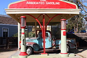 American Trucks Framed Prints - Filling Up The Old Ford Jalopy At The Associated Gasoline Station . Nostalgia . 7D12883 Framed Print by Wingsdomain Art and Photography