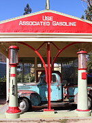 Trucks Photo Prints - Filling Up The Old Ford Jalopy At The Associated Gasoline Station . Nostalgia . 7D12884 Print by Wingsdomain Art and Photography