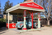 Pumps Prints - Filling Up The Old Ford Jalopy At The Associated Gasoline Station . Nostalgia . 7D12897 Print by Wingsdomain Art and Photography