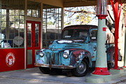 Trucks Photo Prints - Filling Up The Old Ford Jalopy At The Associated Gasoline Station . Nostalgia . 7D13021 Print by Wingsdomain Art and Photography