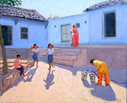 Asia Paintings - Filling Water Buckets by Andrew Macara