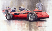 Retro Painting Prints - Final check before the start Maserati 250 F 1957 Print by Yuriy  Shevchuk
