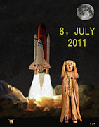 Space Shuttle Program Mixed Media Posters - Final shuttle mission 8th July 2011 Poster by Eric Kempson