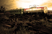 Old Train Prints - Final Stop Express . sepia . 7D8995 Print by Wingsdomain Art and Photography