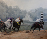 Jockey Painting Originals - Final Stretch by Heather Burton