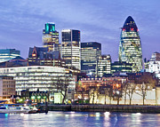 Business-travel Framed Prints - Financial City Skyline, London Framed Print by John Harper