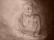 Buddha Sketch Prints - Find Your Own Way Print by Kylani Arrington