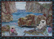 Sea Mammals Greeting Cards Tapestries - Textiles Posters - Finders keepers Poster by Kathy McNeil