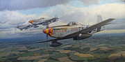 Mustang Aviation Art Paintings - Finding a Gap by Steven Heyen