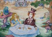 Alice In Wonderland Painting Originals - Finding My Muchness by Kathleen Keller