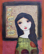 Luna Mixed Media Prints - Finding the Sacred Print by Christina Fajardo