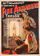Bar Decor Posters - Fine Armagnac advertisement Poster by Eugene Oge