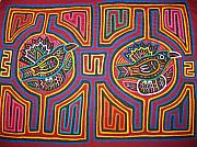 Folk Tapestries - Textiles - Fine Pair of Bird in Abstract Mola San Blas Panama by Rita  Smith