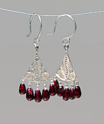 French Jewelry Originals - Fine Silver Chandelier Earring Frames with Garnets by Robin Copper