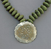 Green Jewelry Prints - Fine Silver Doily Pendant On Green Jade Print by Mirinda Kossoff