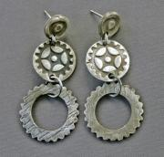 Gear Jewelry Originals - Fine silver gearhead post and dangle earrings by Mirinda Kossoff