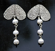 Freshwater Pearls Jewelry Posters - fine silver Wings earrings Poster by Mirinda Kossoff