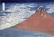 Volcano Posters - Fine weather with South wind Poster by Hokusai