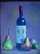 French Pears Prints - Fine wine paintings - A French Wine with Pears Print by Virgilla Lammons