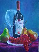 Fruit And Wine Paintings - Fine Wine Paintings - A Spanish Wine with Fruit by Virgilla Lammons