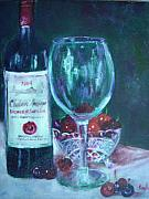 Fruit And Wine Paintings - Fine wine paintings - MERLOT CABERNET SAUVIGNON by Virgilla Lammons