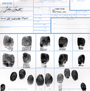 Law Enforcement Posters - Fingerprint Identification Application Poster by Science Source